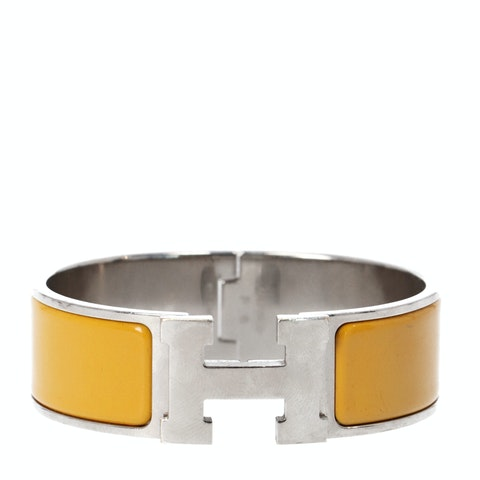 Yellow Enamel and Palladium-Plated Clic Clac H Bracelet