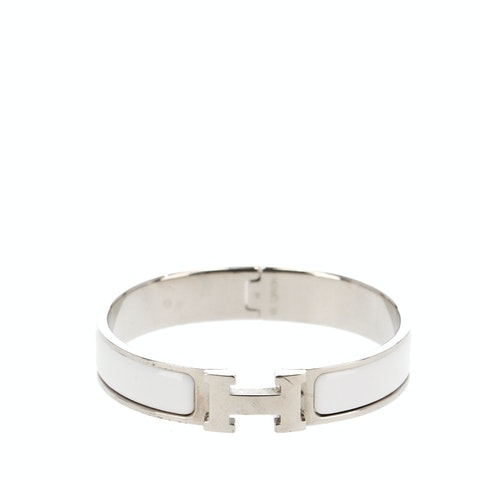 White Enamel and Silver-Toned Clic Clac H Bracelet