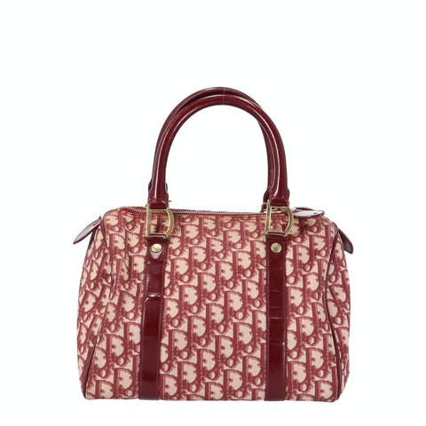 Dior Red Coated Canvas Bowling Bag
