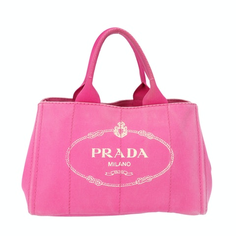 Prada Pink Printed Canvas Tote