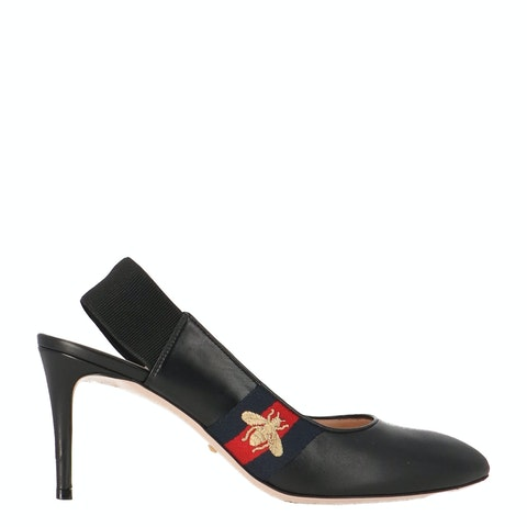 Black Leather Sylvie Bee Slingback Pumps