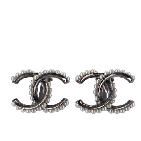 Chanel Silver 'CC' Clip-On Earrings