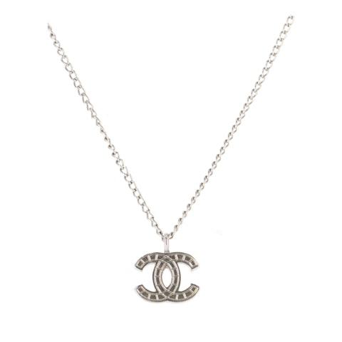 Silver-Toned 'CC' Pendant Necklace