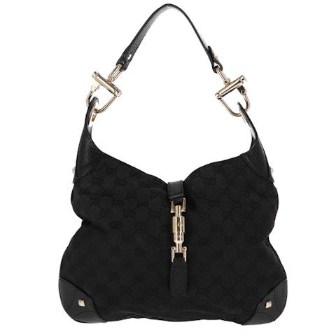 Black Diamante Canvas Shoulder Bag