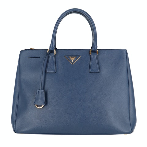 Blue Saffiano Leather Galleria Bag Large