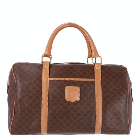 Brown Macadam Coated Canvas Boston Bag