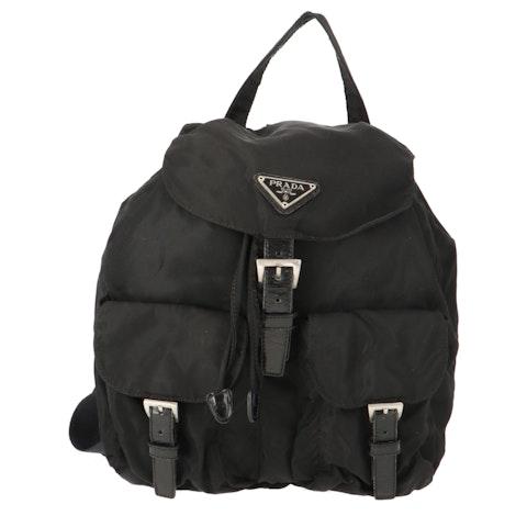 Black Nylon Small Backpack