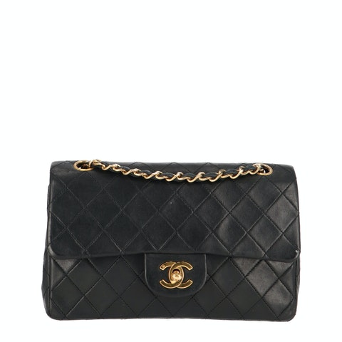 Black Small Lambskin Classic Double Flap Bag