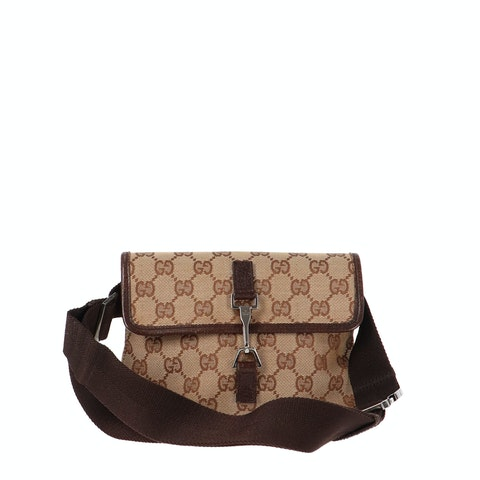 Brown Diamante Canvas Belt Bag