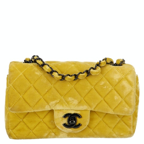 Yellow Mini Velvet Single Flap Bag
