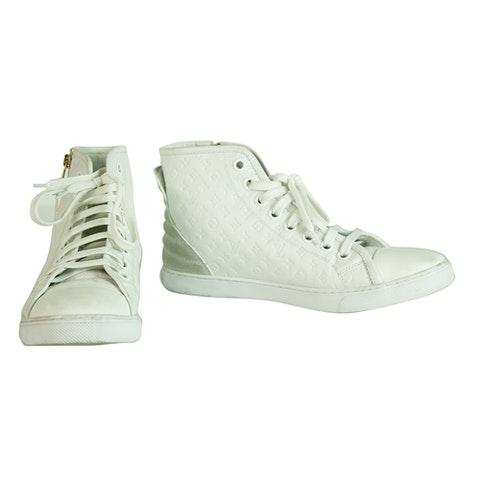 Punchy Empreinte Leather High Top Sneakers Ivory off White