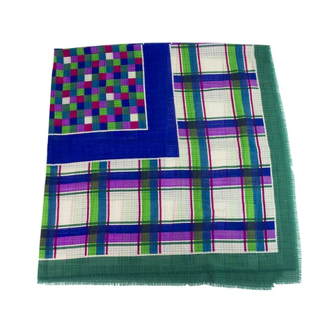 Extra large Square Wool Silk Scarf pashmina multicolor check