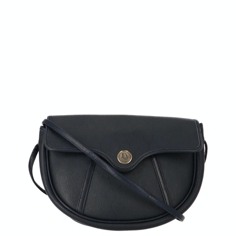 Black Honeycomb Coated Canvas Crossbody