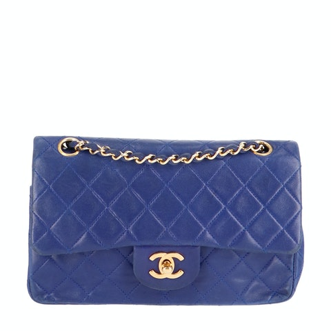 Blue Small Calfskin Classic Double Flap Bag