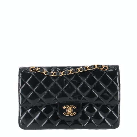 Black Small Patent Classic Double Flap Bag