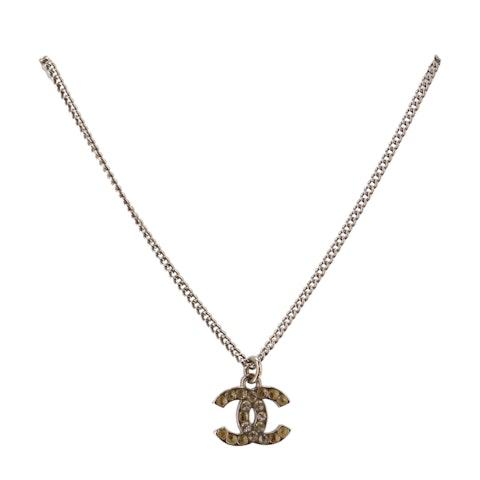 Silver-Toned Small 'CC' Rhinestone Necklace