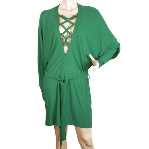 Green Criss Cross Deep V Neckline Dolman Sleeve Mini Length Dress