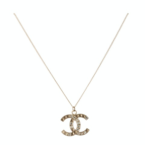 Gold-Toned Large 'CC' Rhinestone Necklace