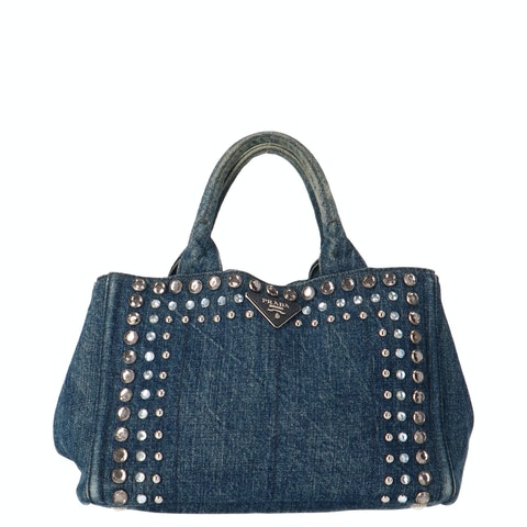 Blue Crystal Embellished Denim Tote