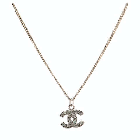 Chanel Sterling Silver Small 'CC' Rhinestone Necklace