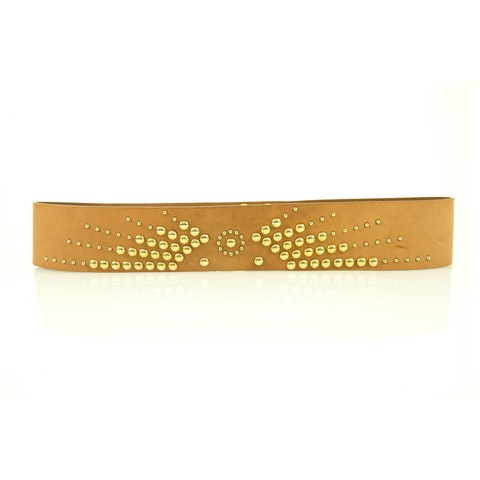 Moschino Love Womans Tan Cow Leather Studded Gold Tone Press Stud Belt