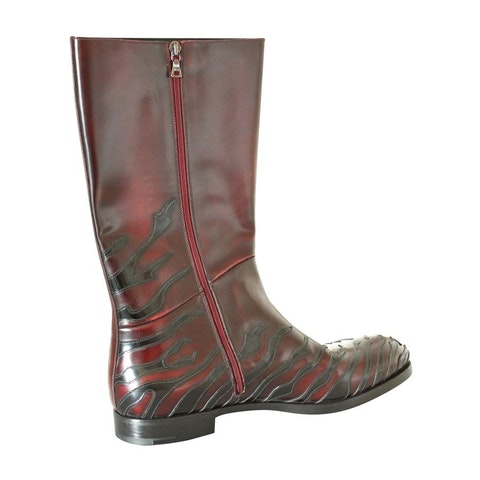 Bordeau leather under the knee high boots