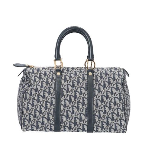 Dior Blue Jacquard Canvas Bowling Bag