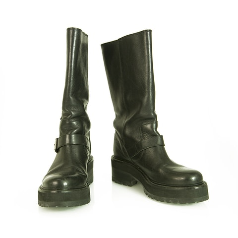 Black Leather Track Soles Buckles Boots Booties