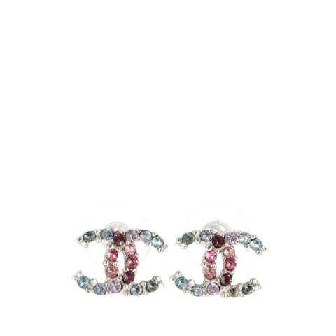 Chanel Sterling Silver 'CC' Rainbow Rhinestone Earrings