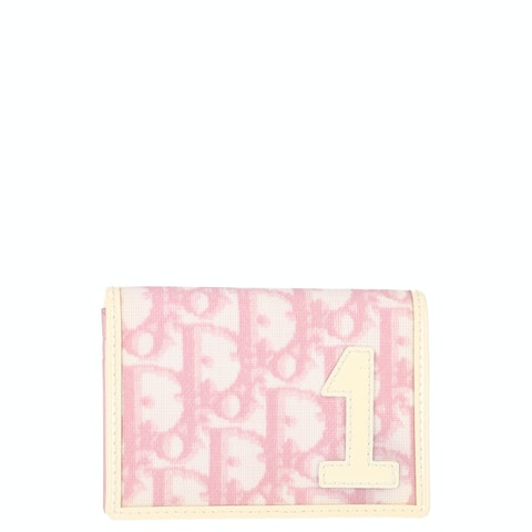 Pink Oblique Coated Canvas Card Wallet