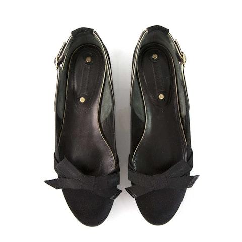 Celine Black Satin Ballerinas Ballet Flats Sz 38 - Excellent Condition