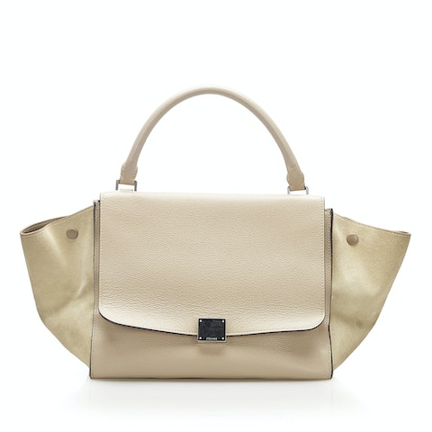 Trapeze Bicolor Leather Satchel