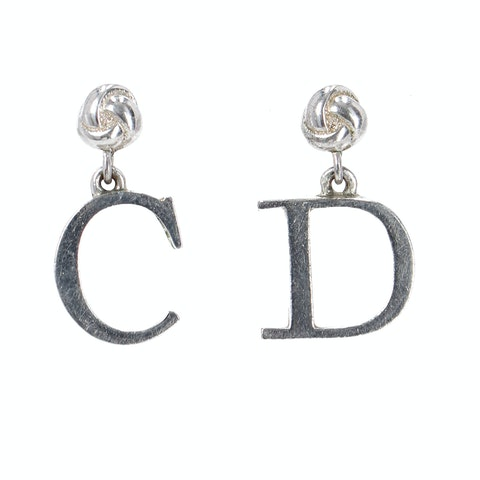 Dior Silver 'C' and 'D' Letter Earrings