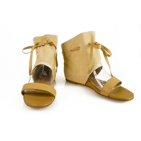 See By Chloe Beige Suede Bootie Open Toe Flats Sandals
