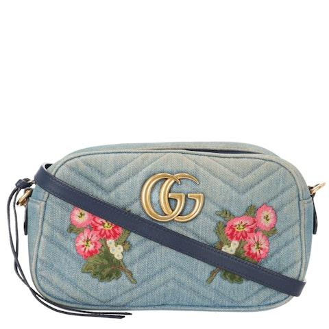 Gucci Blue Wash Marmont Matelassé Denim Shoulder Bag