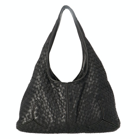 Black Medium Intrecciato Hobo Bag
