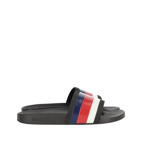 Black Rubber Web Men's Slides