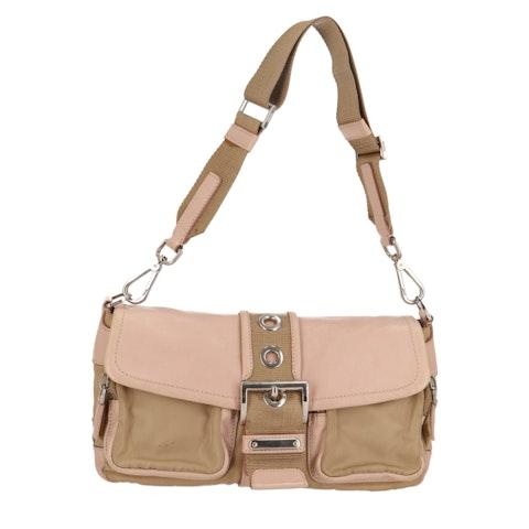 Beige Nylon Shoulder Bag