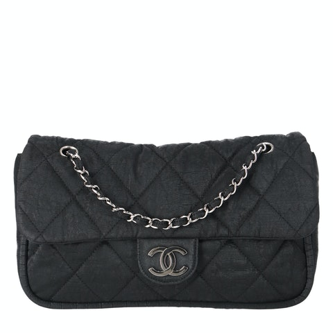 Black Fabric Quilted Flap Bag