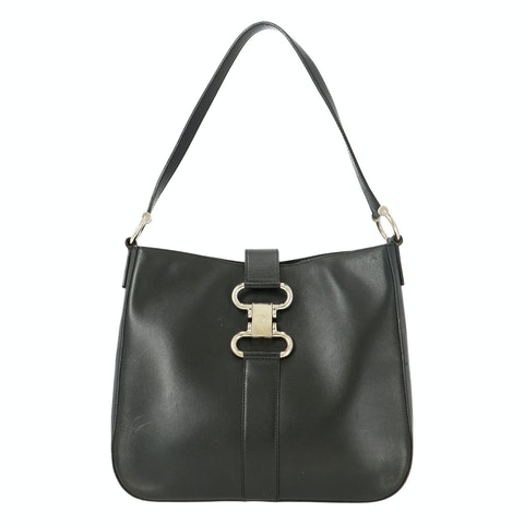 Black Calfskin Leather Shoulder Bag