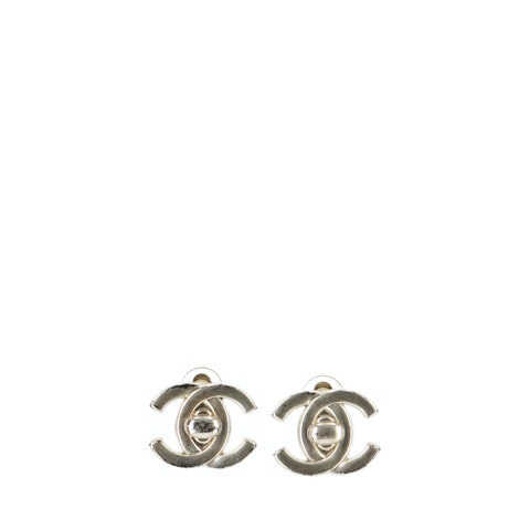 Silver-Toned 'CC' Clip-On Earrings
