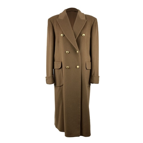 Vintage Tan Beige Double Breasted Tailored Long Coat