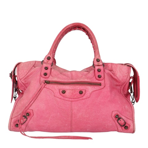 Balenciaga Pink Perforated Lambskin Part Time
