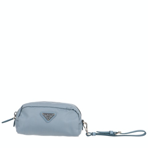 Blue Nylon Cosmetic Pouch