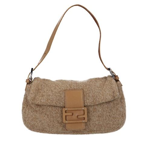 Fendi Brown Knit Baguette