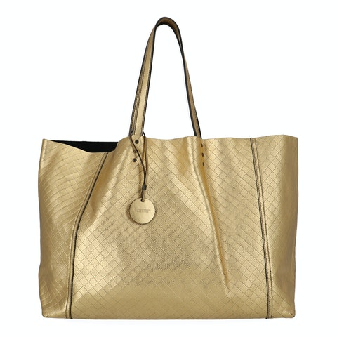 Bottega Veneta Gold Intrecciato Shoulder Bag