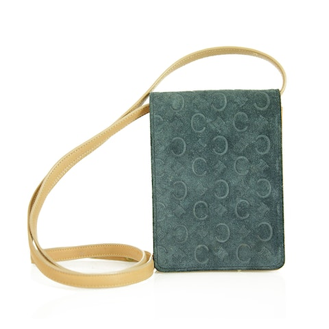Blue Suede Monogram Wallet Bag
