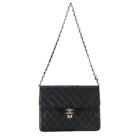 Black Lambskin Classic Single Flap Bag