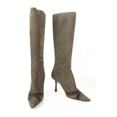 Taupe Suede with Brown Leather Boots Slim heels Pointed Toe