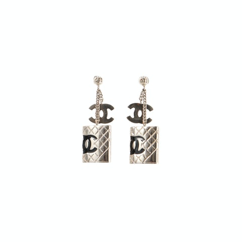 Silver Medium 'CC' Logo Earrings